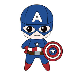 How to Draw Cartoon Captain America Step by Step for Kids