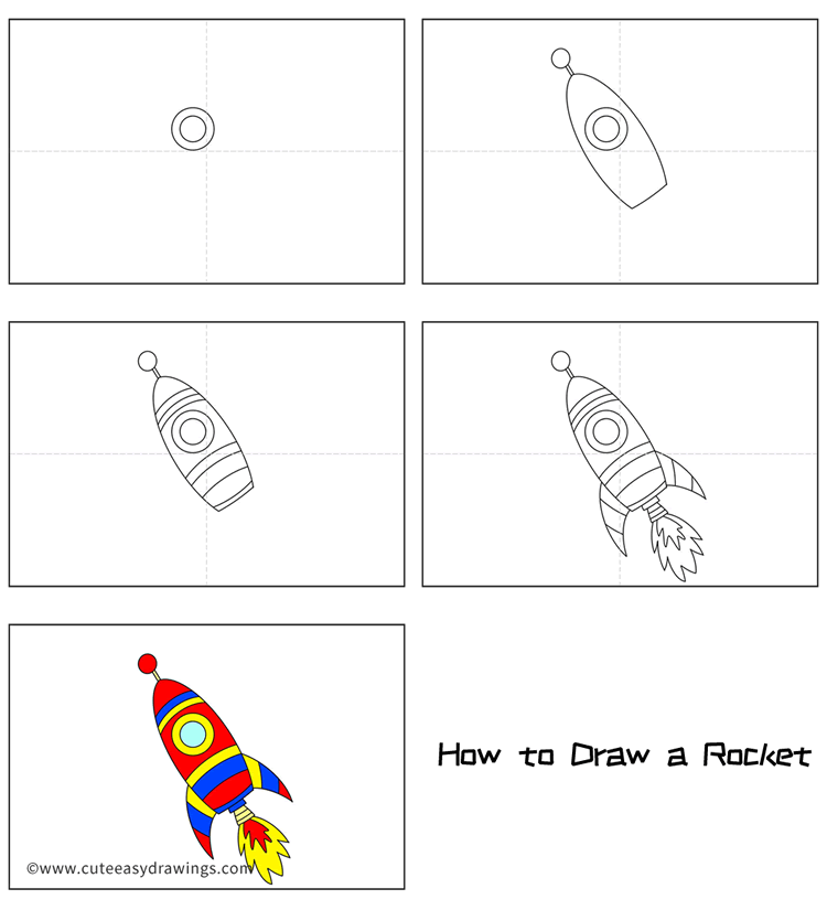Cute Rocket Flying To Space Drawing Tutorial Easy For Kids Cute Easy Drawings Maybe you get sick of drawing your favorite character over and over again, or there's only so many ways to. cute rocket flying to space drawing