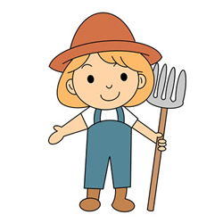 How to Draw a Female Farmer Step by Step for Kids