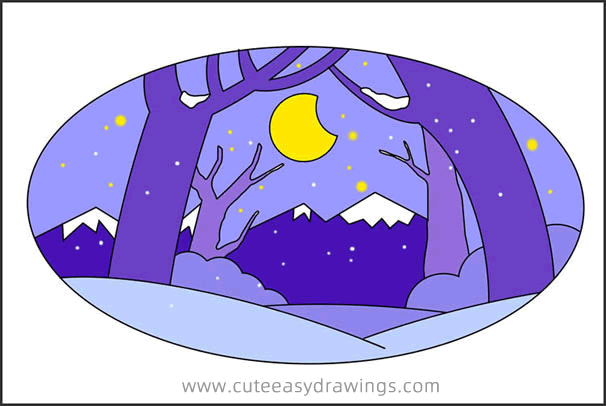 How to Draw a Snowy Night Scene in the Forest Easy for Kids