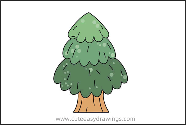 How To Draw A Cartoon Pine Tree Easy Step By Step For Kids Cute Easy Drawings Begin by drawing two parallel lines. draw a cartoon pine tree easy step