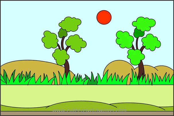How to Draw Roadside Scenery Easy Step by Step for Kids