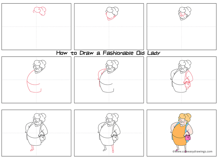 How to Draw a Fashionable Grandmother for Kids
