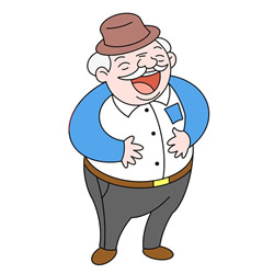 How to Draw a Laughing Grandfather Step by Step for Kids