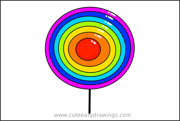 Rainbow Lollipop Drawing Step by Step for Kids