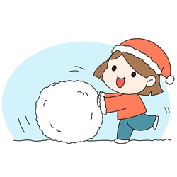 How to Draw a Girl Snowballing for Kids