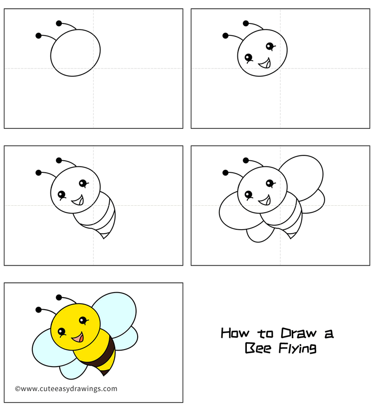 How to Draw a Bee Flying Easy Step by Step for Kids