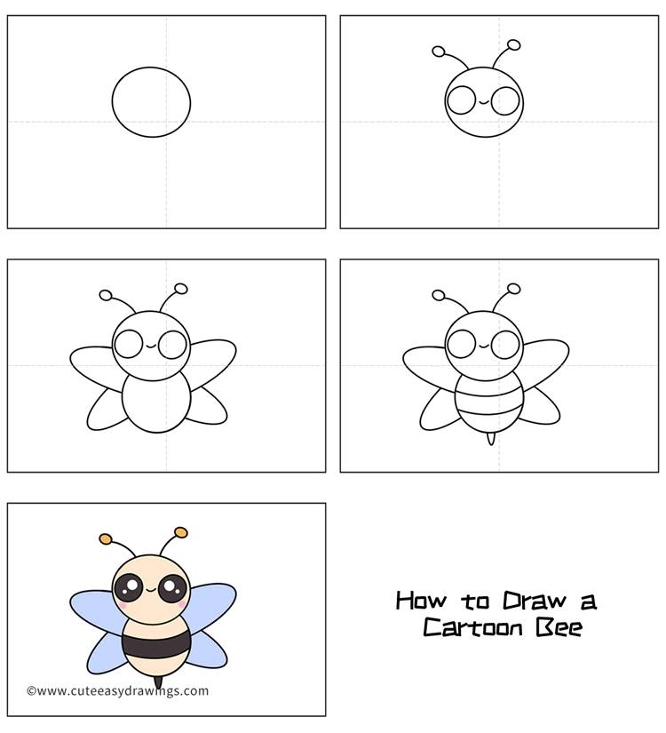 How to Draw a Cartoon Bee Easy Step by Step for Kids
