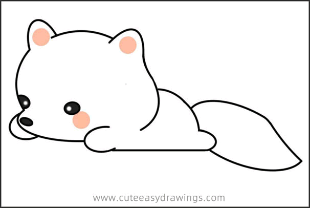 How to Draw a Arctic Fox Baby Easy Step by Step for Kids