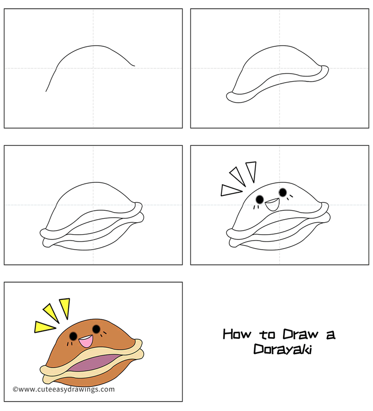 How to Draw a Cartoon Dorayaki Easy Step by Step for Kids
