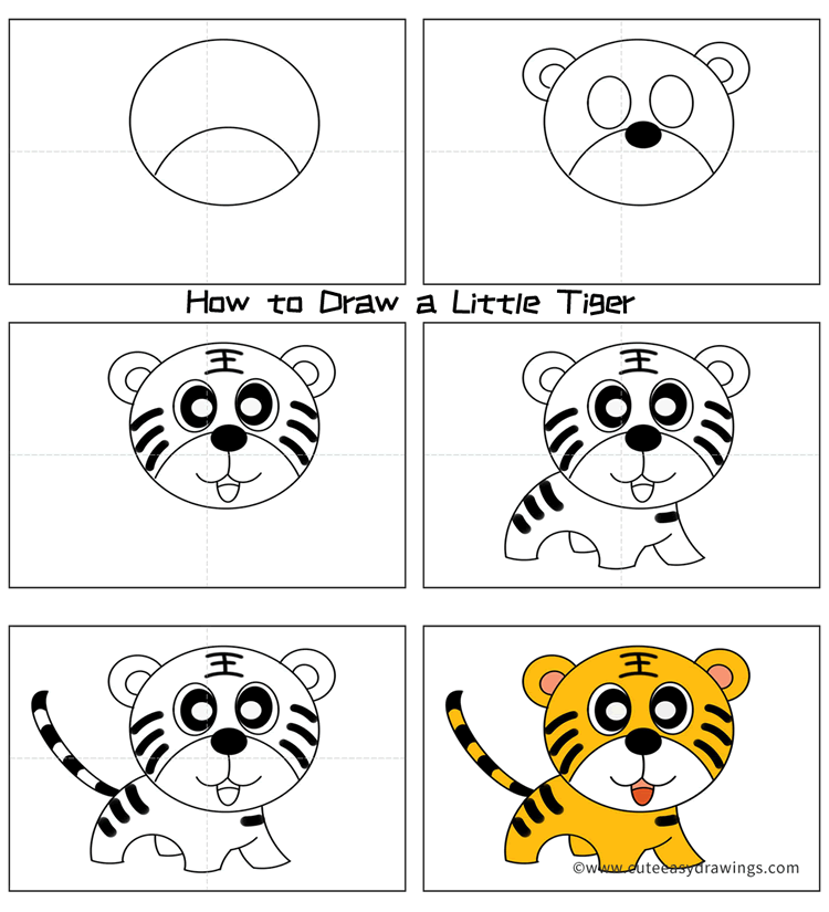How to Draw a Cute Little Tiger Easy for Kids