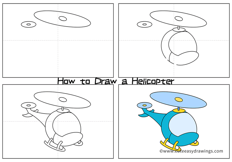 Easy Helicopter Drawing for Kids