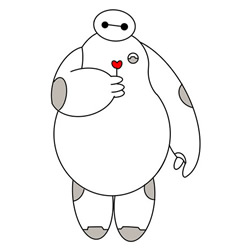 How to Draw Baymax with a Flower Step by Step for Kids