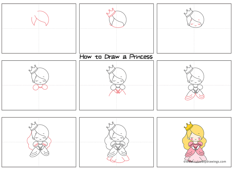 How to Draw a Shy Little Princess Step by Step for Kids