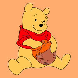 How to Draw Pooh Bear Eating Honey