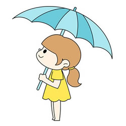 How to Draw a Girl with Umbrella Step by Step