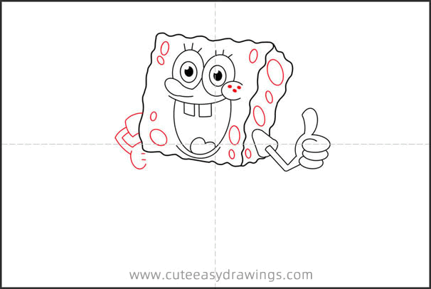 How to Draw SpongeBob with Thumbs up Step by Step