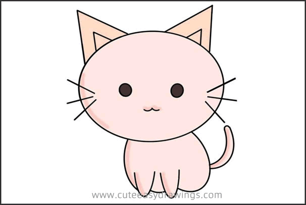 How to Simply Draw a Cute Cartoon Cat Step by Step for Kids