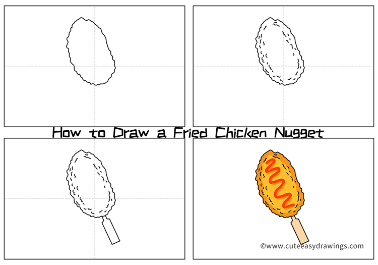 How to Draw a Fried Chicken Nugget Step by Step for Kids