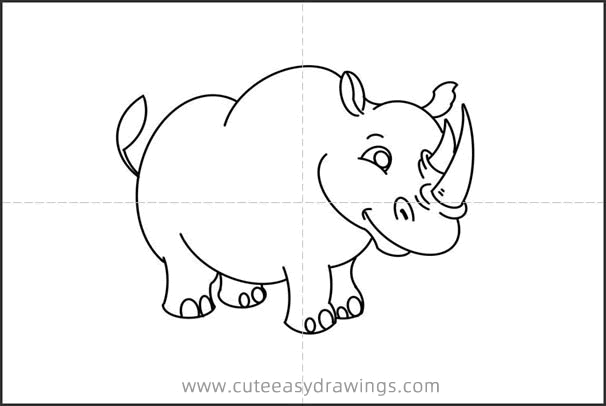 How to Draw a Standing Rhino Step by Step for Kids