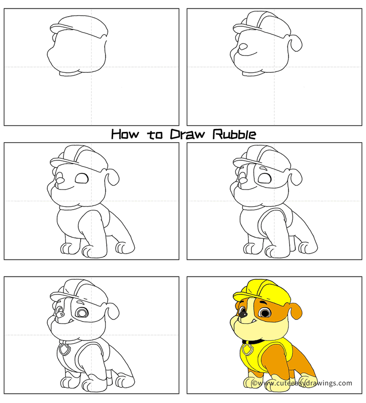 How to Draw Rubble from PAW Patrol Step by Step for Beginners