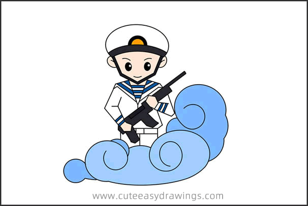 How to Draw a Navy Soldier Step by Step for Kids