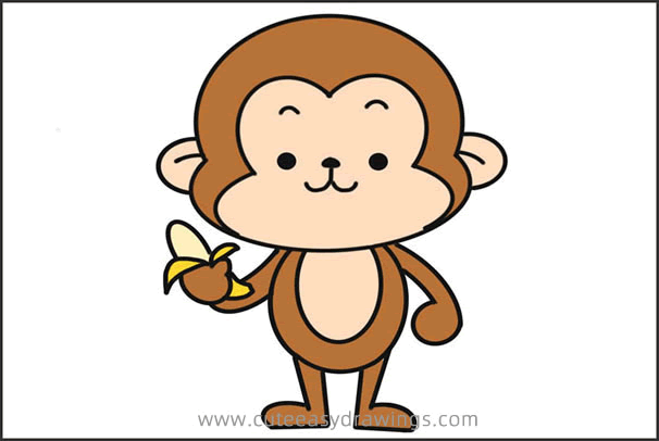 How to Draw a Cartoon Monkey Eating Banana Step by Step for Kids