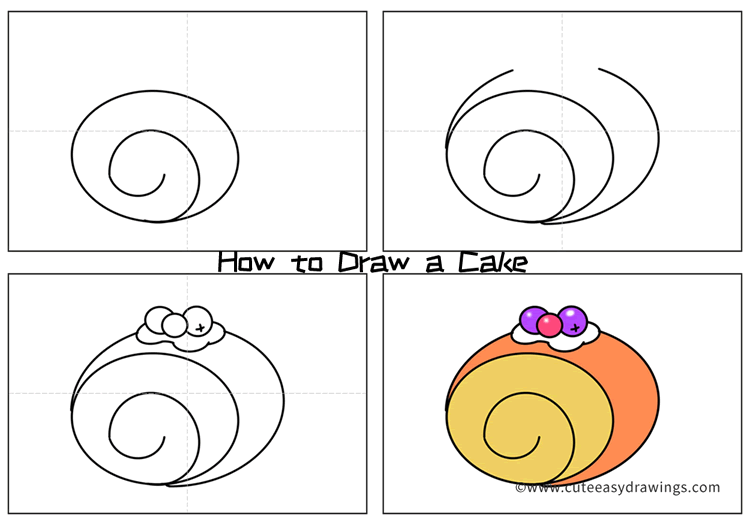 How to Draw a Cute Cake Easy Step by Step for Kids