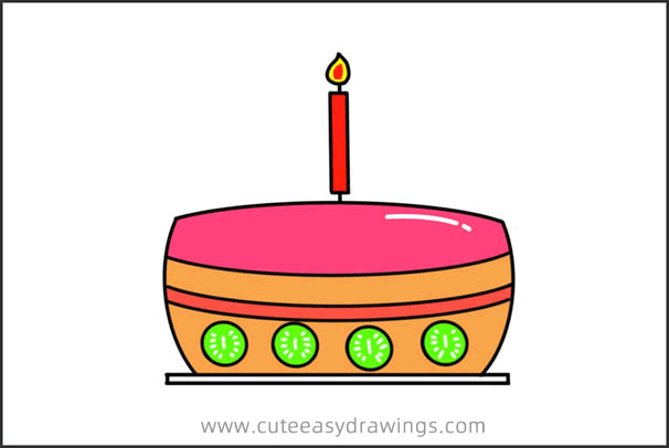 How to Draw a Cute Birthday Cake Easy Step by Step for Kids