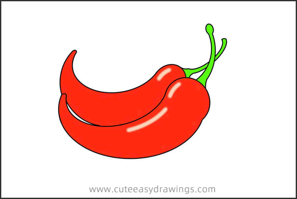 How to Draw a Red Chili Easy Step by Step for Kids