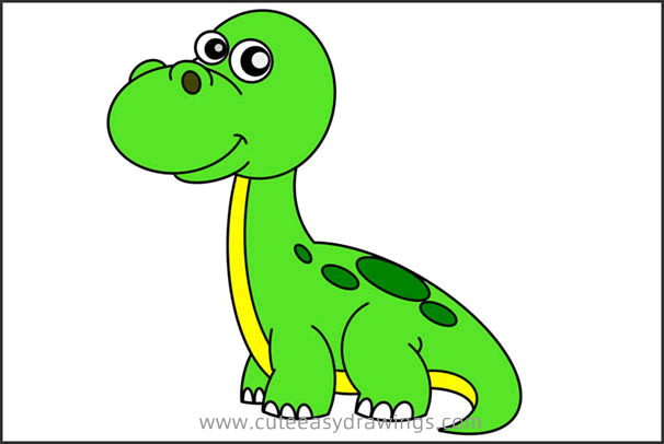 How to Draw a Cartoon Brontosaurus Easy Step by Step for Kids