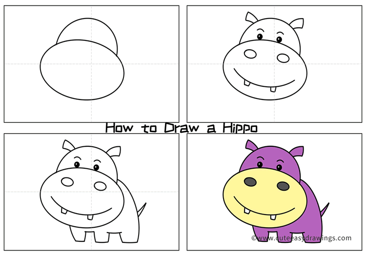 How to Draw a Cute Hippo Baby Easy Step by Step for Kids