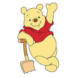 How to Draw Pooh Bear with Shovel Step by Step