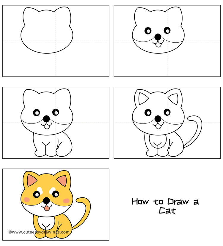 How to Draw a Yellow Cat Easy Step by Step for Kids