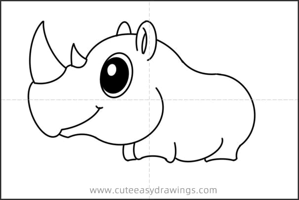 How to Draw a Cute Rhinoceros Easy Step by Step for Kids