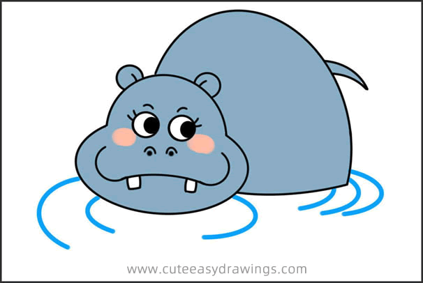 How to Draw a Hippo in the Water Easy Step by Step for Kids