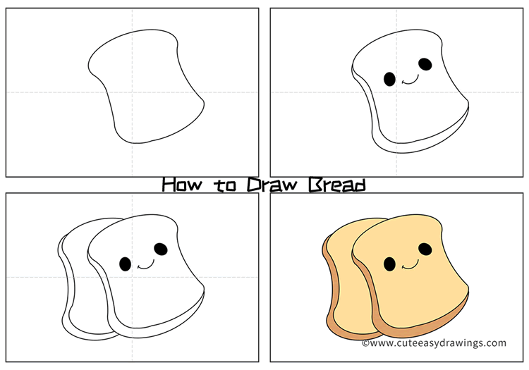 How to Draw Cartoon Slices of Bread Easy Step by Step for Kids