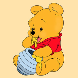 How to Draw Pooh Bear with Honey Pot Step by Step