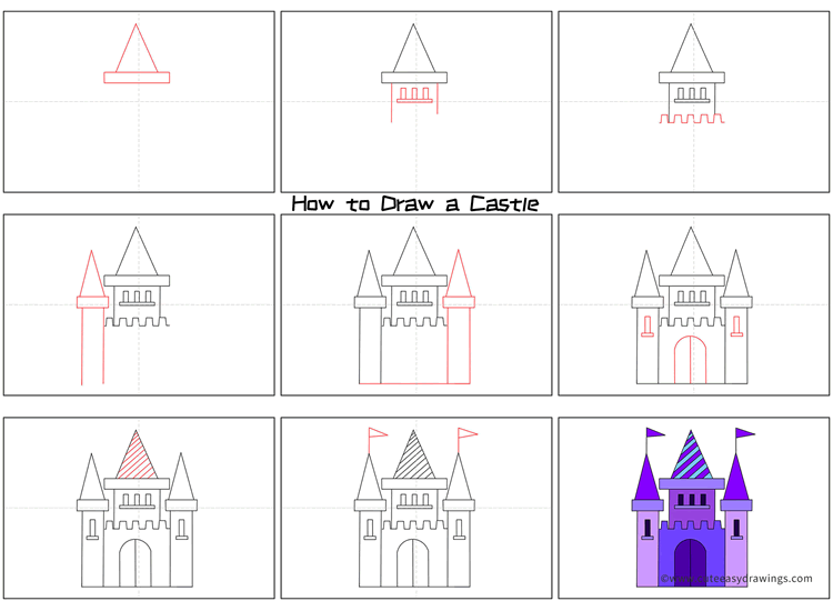 How to Draw a Castle Step by Step