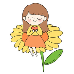 How to Draw a Girl Sitting on a Flower Step by Step