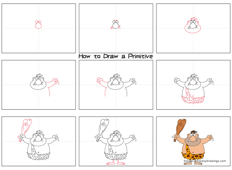 How to Draw a Primitive Man Step by Step