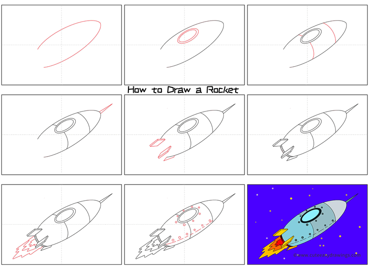 How to Draw a Rocket Flying in Space Step by Step