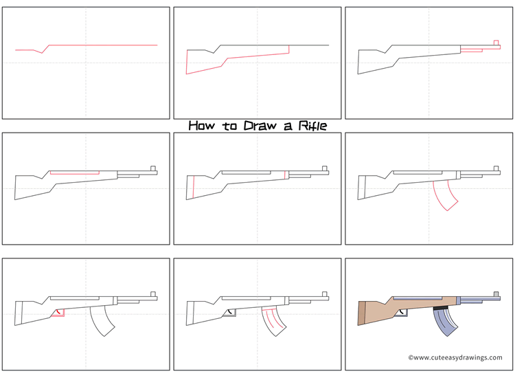 How to Draw an Automatic Rifle Step by Step