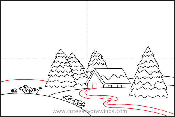 How to Draw a Winter Snow Scene Step by Step