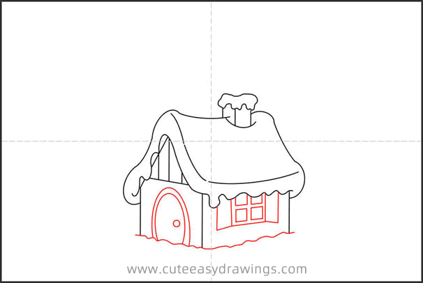 How to Draw a Hut in the Snow Step by Step