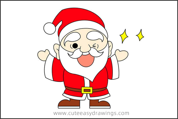 How to Draw Santa Claus Blinking Step by Step