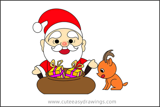 How to Draw Santa with Gifts Step by Step