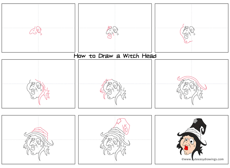 How to Draw a Witch Head Step by Step