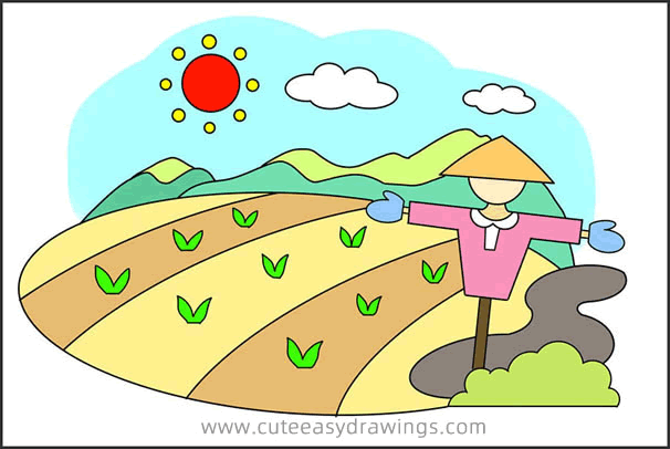 How to Draw Chinese Rice Fields Step by Step