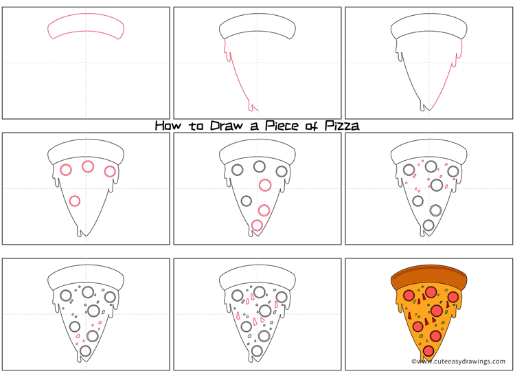 How to Draw a Piece of Pizza Step by Step